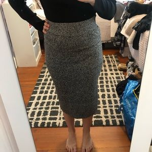 Long black, white and grey knit skirt